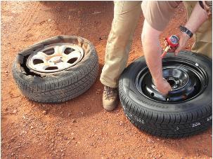 Fixing Subaru Tyre