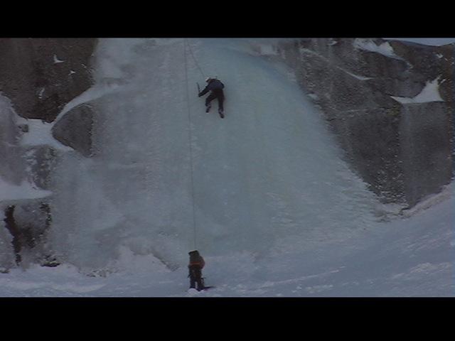 Top rope ice climbing
